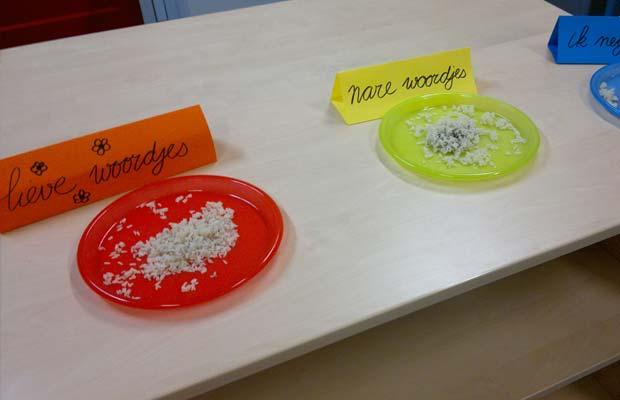 rijstexperiment bordjes